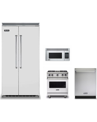 Don T Miss Sales On Viking 5 4 Piece Kitchen Appliances Package With Side By Side Refrigerator Gas Range Dishwasher And Over The Range Microwave In Stainless Steel Vire