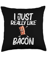 Best Bacon Eater Breakfast Brunch Picnic Clothes Funny Gift for Men Women Bacon Strips Foodie Lovers Throw Pillow, 18x18, Multicolor