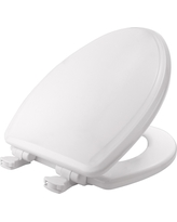 Mayfair Elongated Molded Wood Toilet Seat with Whisper•Close with Easy•Clean & Change Hinge and Sta-Tite Seat Fastening System, White
