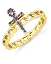 Women's Cubic Zirconia Ankh Chain Link Ring - K Gold Plated
