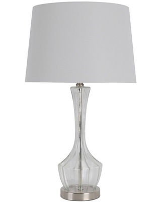 Translucent Glass Table Lamp Set with Brushed Steel Clear - Decor Therapy