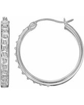 Diamond Mystique Sterling Silver Hoop Earrings, Women's, White