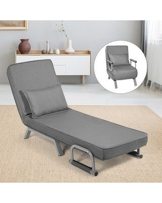 Costway Folding 5 Position Convertible Sleeper Bed Armchair Lounge (Grey)