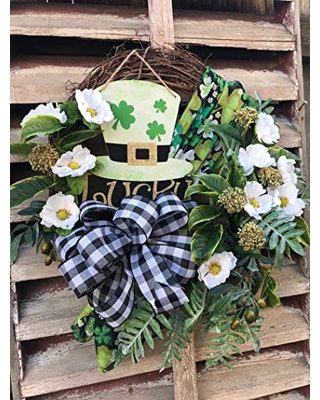 """Beautiful St. Patrick's Day Irish Shamrock with Plaid accent Grapevine Wreath for Front Door. Wreath measures 22"""" x 24""""."""