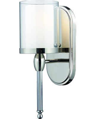 Filament Design Paula 1-Light Chrome Sconce with Matte Opal and Clear Glass