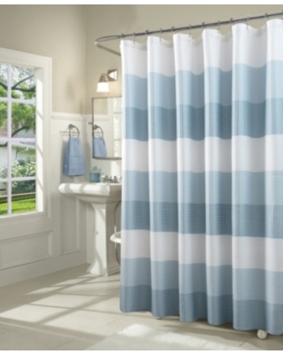 Spa 251 Ombre Waffle Striped Shower Curtain Bedding
