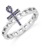 Women's Cubic Zirconia Ankh Chain Link Ring - Silver