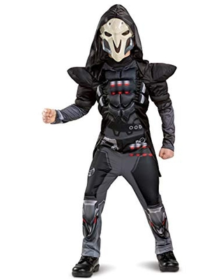 Disguise Overwatch Reaper Classic Muscle Boys Costume, Black, Large (10-12)