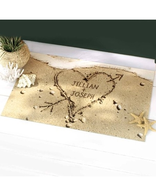 Personalized Heart in Sand Doormat, Multiple Sizes
