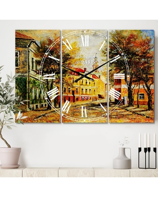 Designart 'Ancient Vitebsk in Autumn' Cottage 3 Panels Oversized Wall CLock - 36 in. wide x 28 in. high - 3 panels (36 in. wide x 28 in. high - 3
