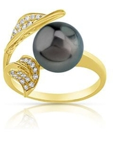 Radiance Pearl 14k Gold Tahitian South Sea Pearl and Diamond Accent Ring (9mm) (6.5 - Yellow)