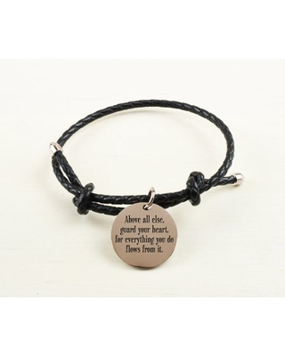 Braided Gold Inspirational Leather Bracelet - Above All