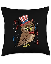 4th Of July Pillows Women Kids Fourth Animal Gifts Owl American Flag USA 4th Of July Fourth Patriot Animal Throw Pillow, 18x18, Multicolor