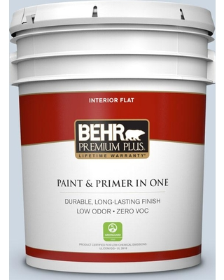 BEHR Premium Plus 5 gal. #S520-1 Pale Cornflower Flat Low Odor Interior Paint and Primer in One