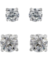Sterling Silver Duo Round Cubic Zirconia Stud Earring Set - A New Day Clear, Women's