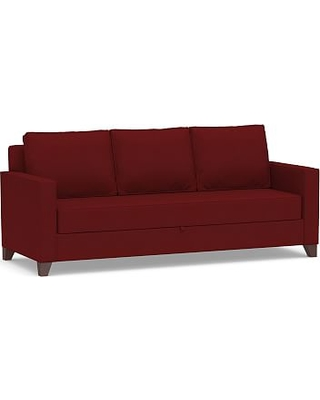 Cameron Square Arm Upholstered Pull-Up Platform Sleeper Sofa, Polyester Wrapped Cushions, Twill Sierra Red