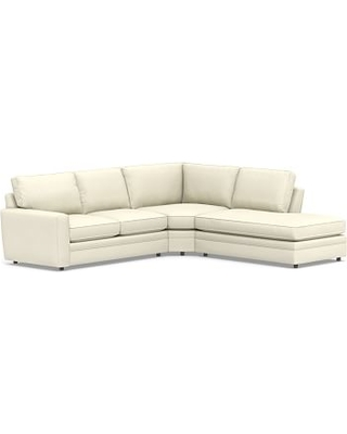 Pearce Square Arm Upholstered Left 3-Piece Bumper Wedge Sectional, Down Blend Wrapped Cushions, Premium Performance Basketweave Ivory