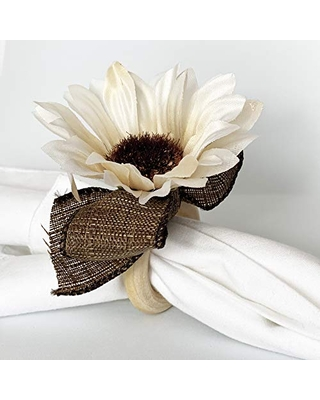 White flower napkin ring. set of 4. This rustic napkin ring set is great to decor your elegant table. Handmade rustic napkin rings come in a set of 4