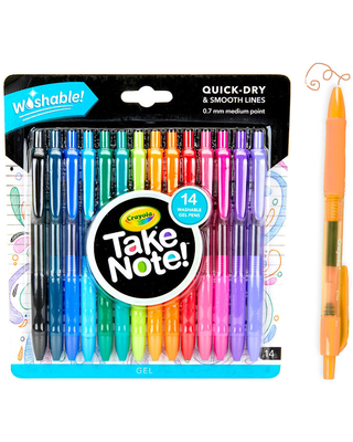 Take Note Washable Gel Pens, 14 Count