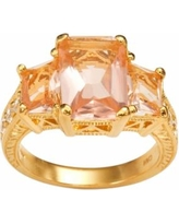 Sophie Miller 14k Gold Over Silver Simulated Morganite and Cubic Zirconia Ring, Women's, Size: 6, Pink