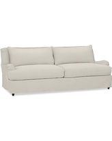 "Carlisle Slipcovered Grand Sofa 90.5"" with Bench Cushion, Polyester Wrapped Cushions, Performance Everydaysuede(TM)Stone"