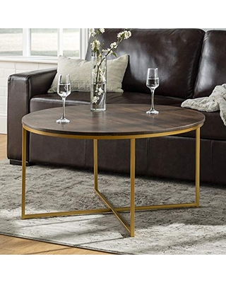 Walker Edison Modern Round Coffee Accent Table Living Room, Walnut/Gold