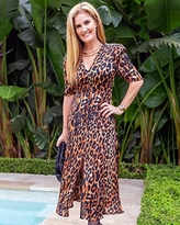 The Drop Women's Brown/Black Leopard Print Button-Front Maxi Dress by @haneyofficial, XXL