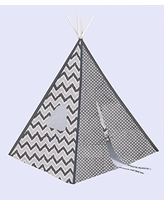 Bacati Mix and Match Teepee Tent for Kids, 100% Cotton Breathable Percale Fabric Cover, Grey