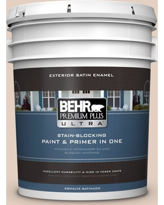 BEHR ULTRA 5 gal. #S220-1 Autumn Blush Satin Enamel Exterior Paint and Primer in One