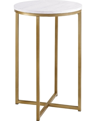 16 Round Side Table - Gold/White - Saracina Home, Faux Marble/Gold