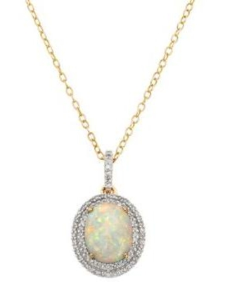Belk & Co. Opal 7/8 ct. t.w. Created Opal and 1/4 ct. t.w. Diamond Pendant Necklace in 10K Yellow Gold