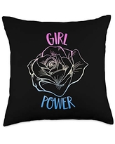 Girl Power Flower Gifts Girl Power Flower Woman Feminists Movement Quote Throw Pillow, 18x18, Multicolor