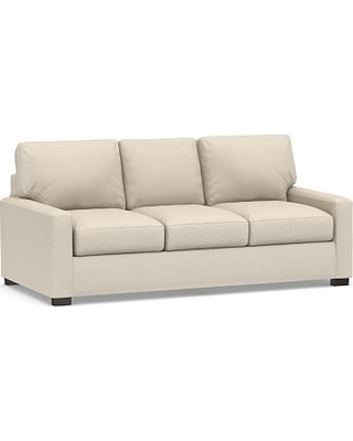 """Turner Square Arm Upholstered Sleeper Sofa 3-Seater 84"""" with Memory Foam Mattress without Nailheads, Polyester Wrapped Cushions, Performance Chateau Basketweave Oatmeal"""
