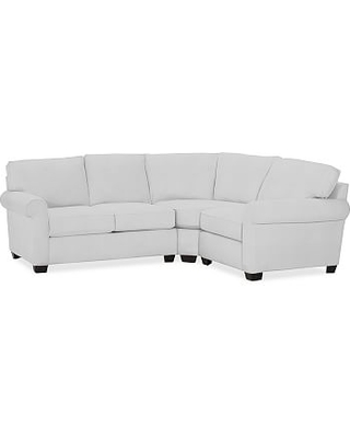 Buchanan Roll Arm Upholstered Left Arm 3-Piece Wedge Sectional, Polyester Wrapped Cushions, Performance Twill Warm White