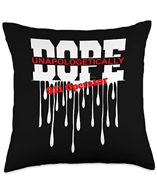 Super Cute Job Careers and Occupations Tee Co. Unappologetically Dope 911-operator Throw Pillow, 18x18, Multicolor