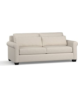 "York Roll Arm Upholstered Deep Seat Sofa 84"", Down Blend Wrapped Cushions, Performance Slub Cotton Stone"