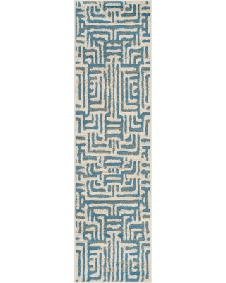 "Ivory/Light Blue Shapes Loomed Runner 2'3""X8' - Safavieh"