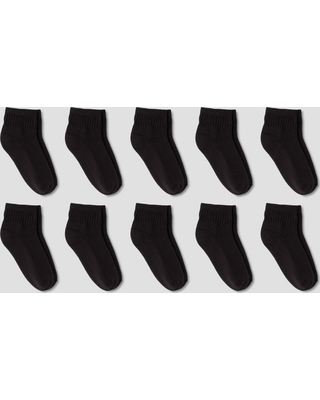 Boys' 10pk Low Cut Athletic Socks - Cat & Jack Black M, Boy's, Size: Medium