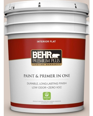 BEHR PREMIUM PLUS 5 gal. #N190-2 Stonewashed Brown Flat Low Odor Interior Paint and Primer in One