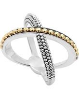 LAGOS KSL Caviar Crossover Ring, Size 7 in Silver/Gold at Nordstrom