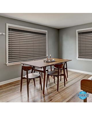 Home Decorators Collection Cut-to-Size Gray Cordless Room Darkening Premium Faux Wood Blinds with 2.5 in. Slats 20.5 in. W x 48 in. L