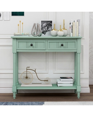 Harper & Bright Designs Daisy 36 in. Blue Rectangle Wood Console Table with 2-Drawers