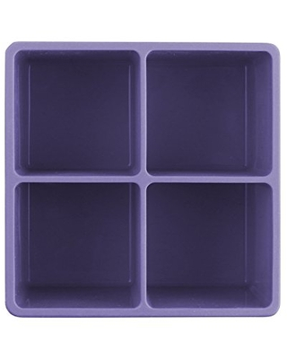 Dexas Silicone Four Jumbo Cube Ice Cube Trays, Set of Two, Purple