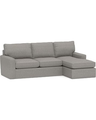 Pearce Square Arm Slipcovered Left Arm Sofa with Chaise Sectional, Down Blend Wrapped Cushions, Sunbrella(R) Performance Sahara Weave Charcoal