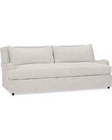 "Carlisle Slipcovered Sofa 80"" with Bench Cushion, Polyester Wrapped Cushions, Performance Heathered Tweed Ivory"