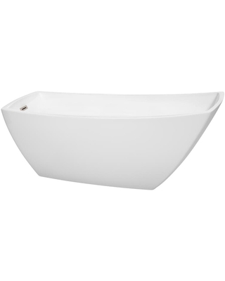 Wyndham Collection Antigua 31-in W x 67-in L White with Brushed Nickel Trim Acrylic Rectangular Left Drain Freestanding Soaking Bathtub