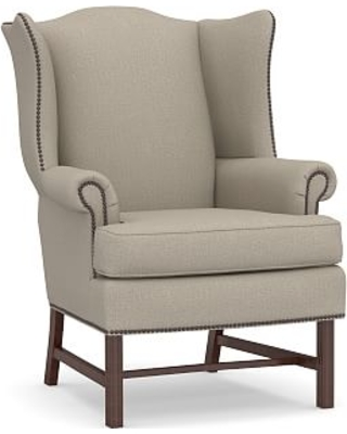 Thatcher Upholstered Armchair, Polyester Wrapped Cushions, Performance Brushed Basketweave Sand
