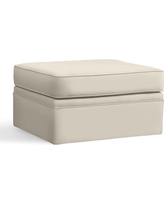 Pearce Slipcovered Ottoman, Polyester Wrapped Cushions, Performance Twill Cream