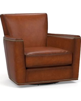 Irving Square Arm Leather Swivel Armchair with Bronze Nailheads, Polyester Wrapped Cushions, Leather Burnished Saddle