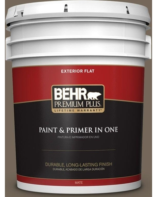 BEHR Premium Plus 5 gal. #720D-6 Toasted Walnut Flat Exterior Paint and Primer in One